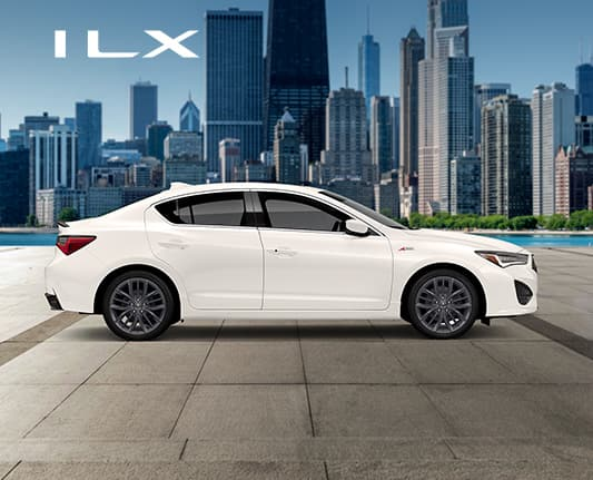 ILX 2020 profile in Platinum White Pearl with a city skyline background